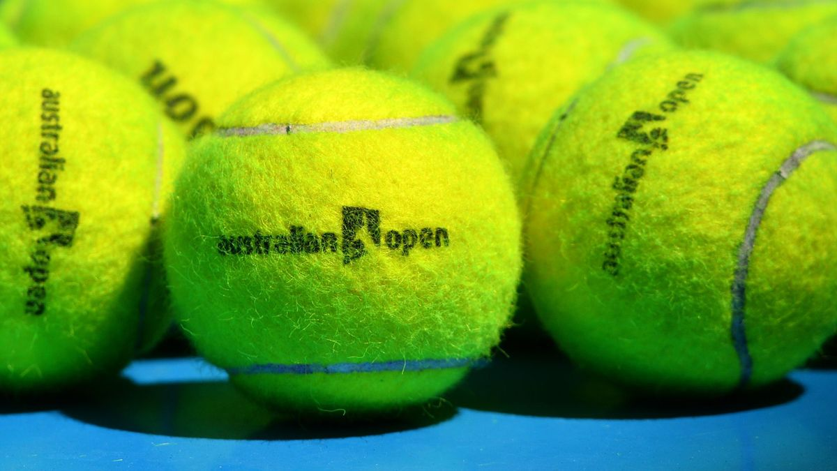 Balls with logo on display ahead of the 2016 Australian Open tennis tournament in Melbourne