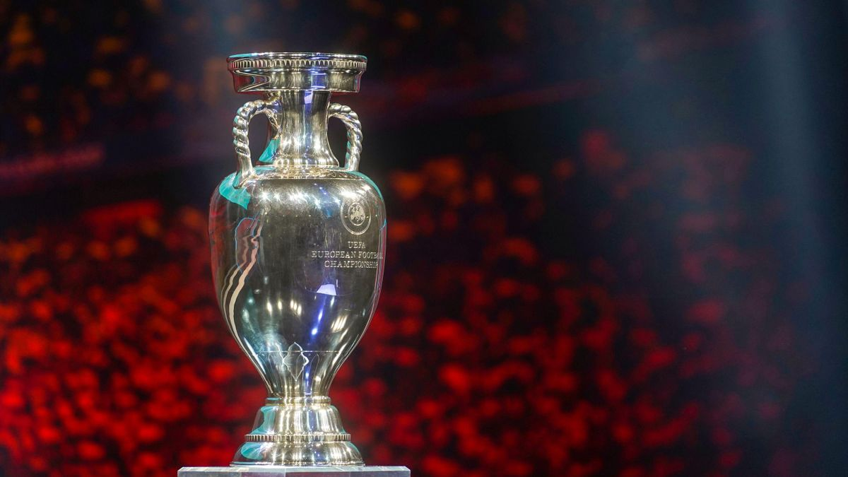The trophy stands on the stage during the UEFA Euro 2020 football competition final draw