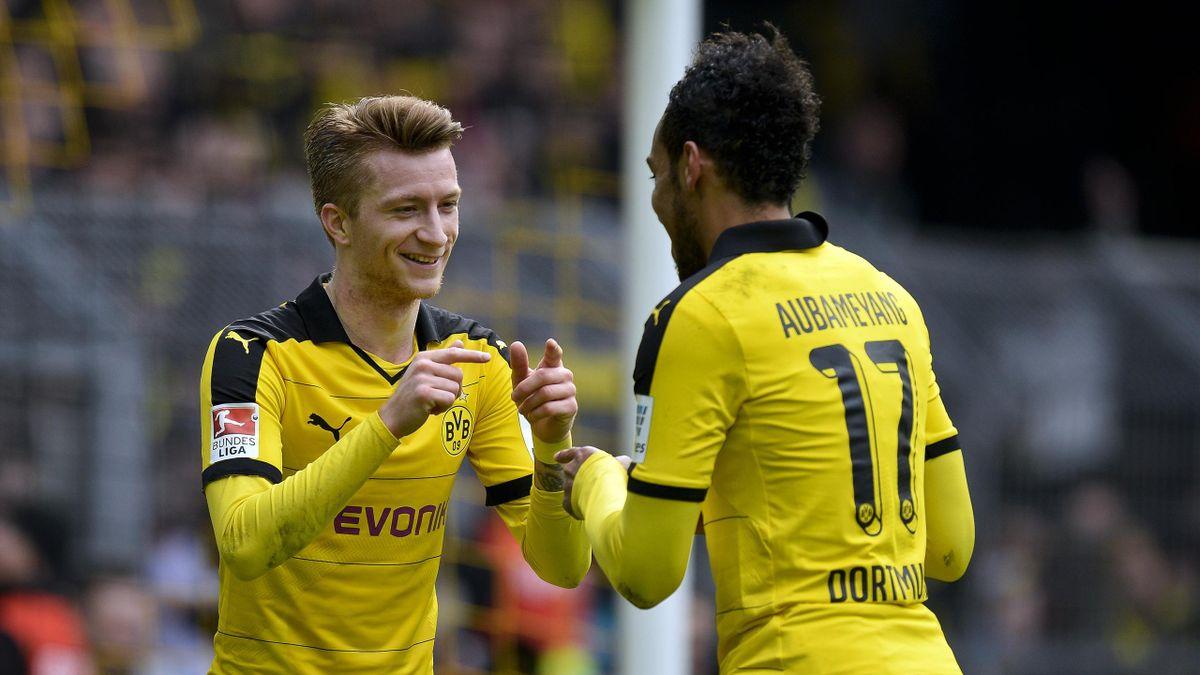 Marco Reus mit Pierre-Emerick Aubameyang beim BVB