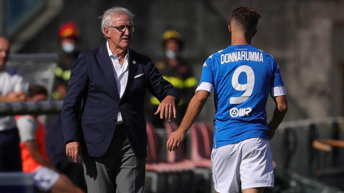 Brescia-Ascoli, Serie B 2020-2021: l'allenatore del Brescia Luigi Delneri insieme all'attaccante Alfredo Donnarumma (Getty Images)
