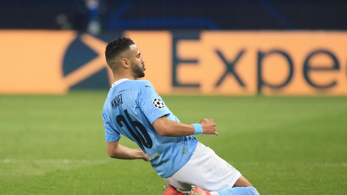 Riyad Mahrez of Manchester City celebrates after scoring their side's second goal during the UEFA Champions League Semi Final First Leg match between Paris Saint-Germain and Manchester City at Parc des Princes on April 28, 2021 in Paris, France