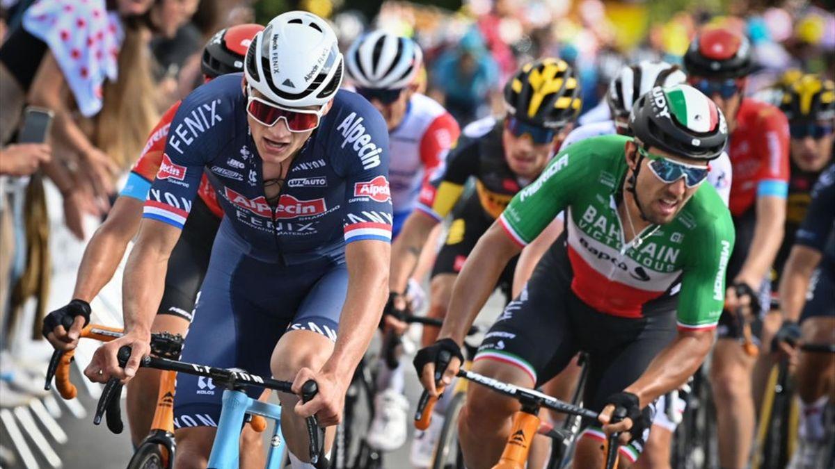 Mathieu van der Poel raggiunge Sonny Colbrelli sul Mûr de Bretagne - Tour de France 2021, stage 2