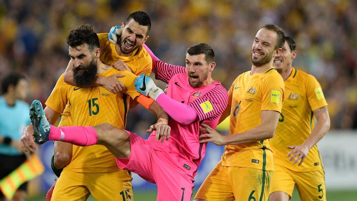 Mile Jedinak of Australia celebrates scoring a goal
