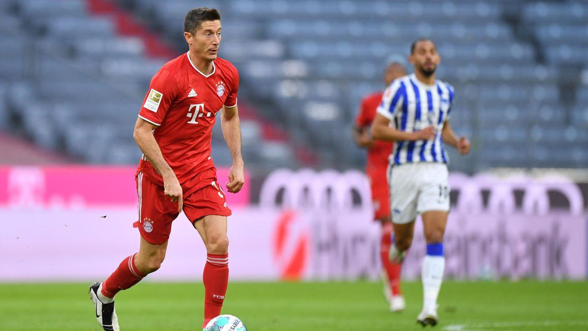 Robert Lewandowski (FC Bayern) im Spiel gegen Hertha BSC Berlin