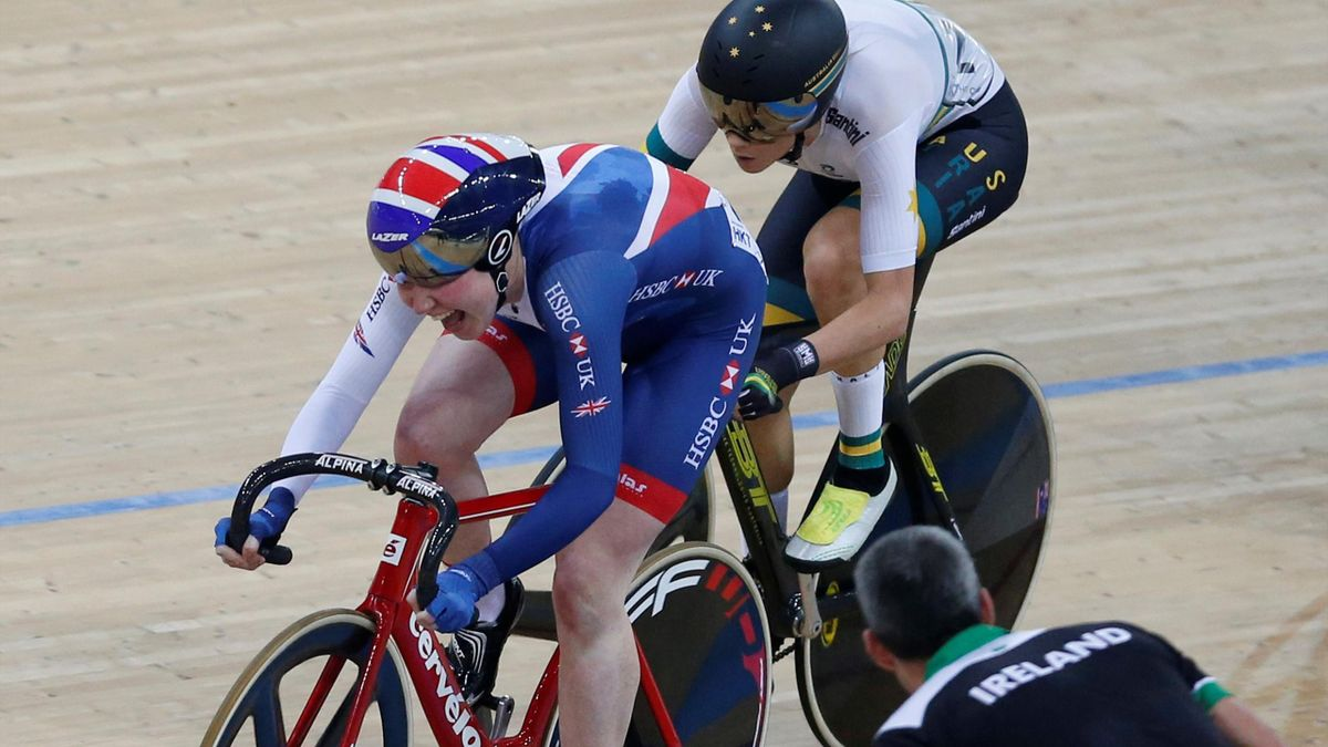 Britain's Katie Archibald (L) competes with Australia's Amy Cure.