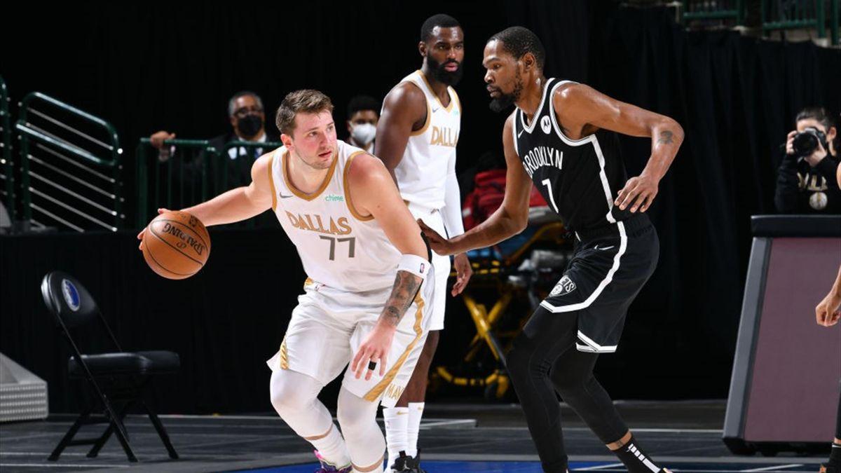 Luka Doncic y Kevin Durant, Mavericks-Nets