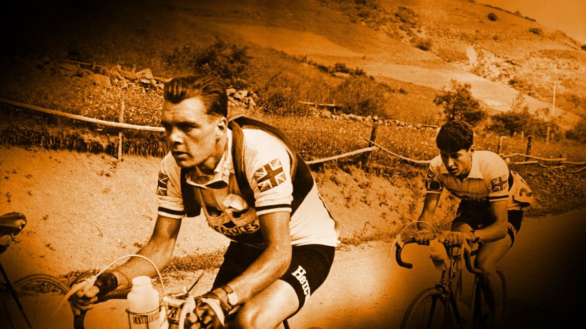 Britain's first Tour de France stage winner, Brian Robinson, during the 1955 Tour - three years before his landmark win
