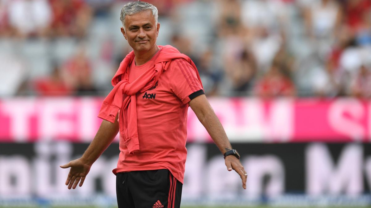 Manchester United's Portuguese manager Jose Mourinho attends the warm up prior to the pre-season friendly football match between FC Bayern Munich and Manchester United at the Allianz Arena in Munich, southern Germany, on August 5, 2018.