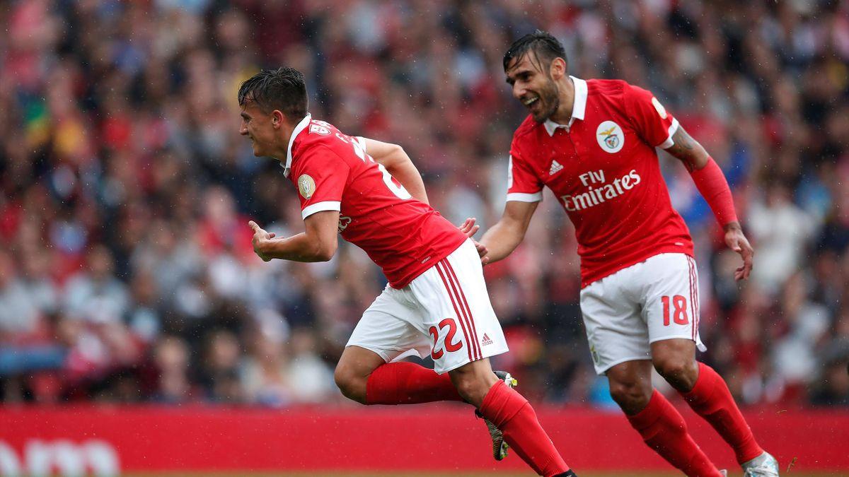 Benfica's Franco Cervi celebrates scoring their first goal