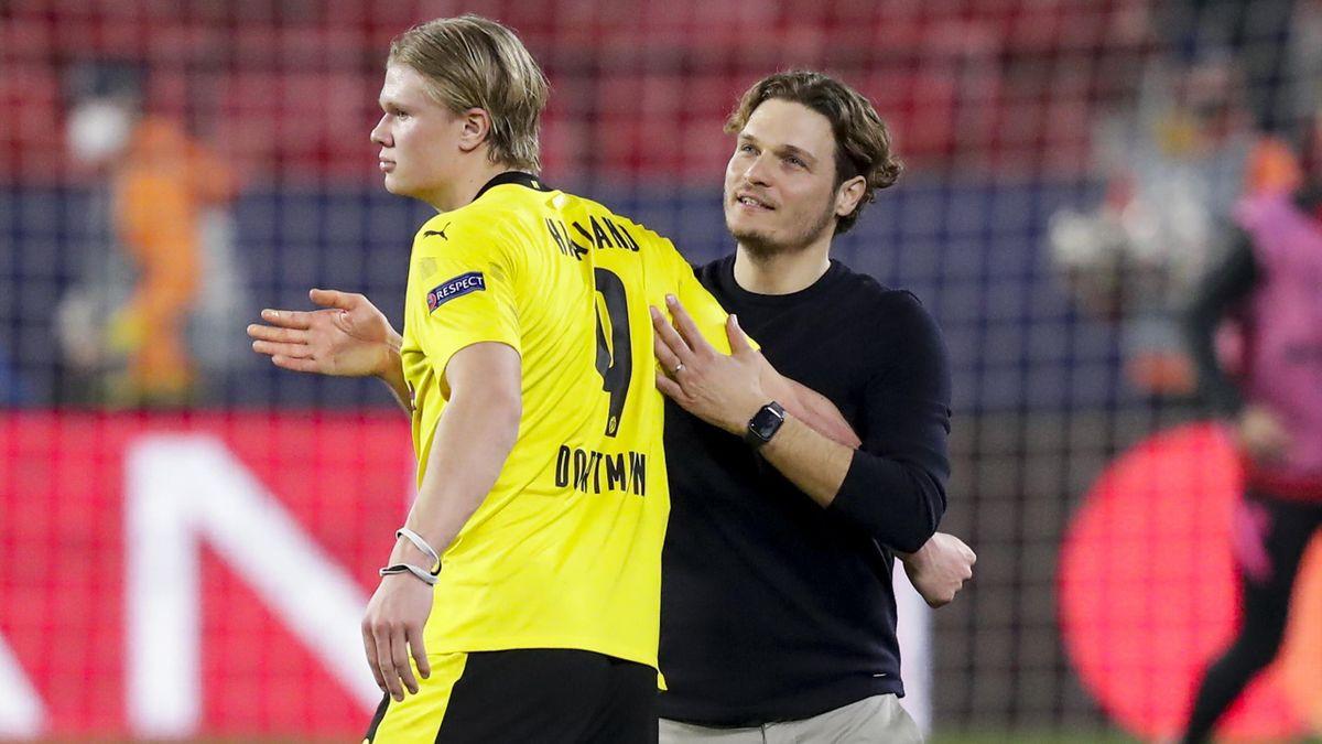 BVB-Trainer Edin Terzic (rechts) mit Erling Haaland