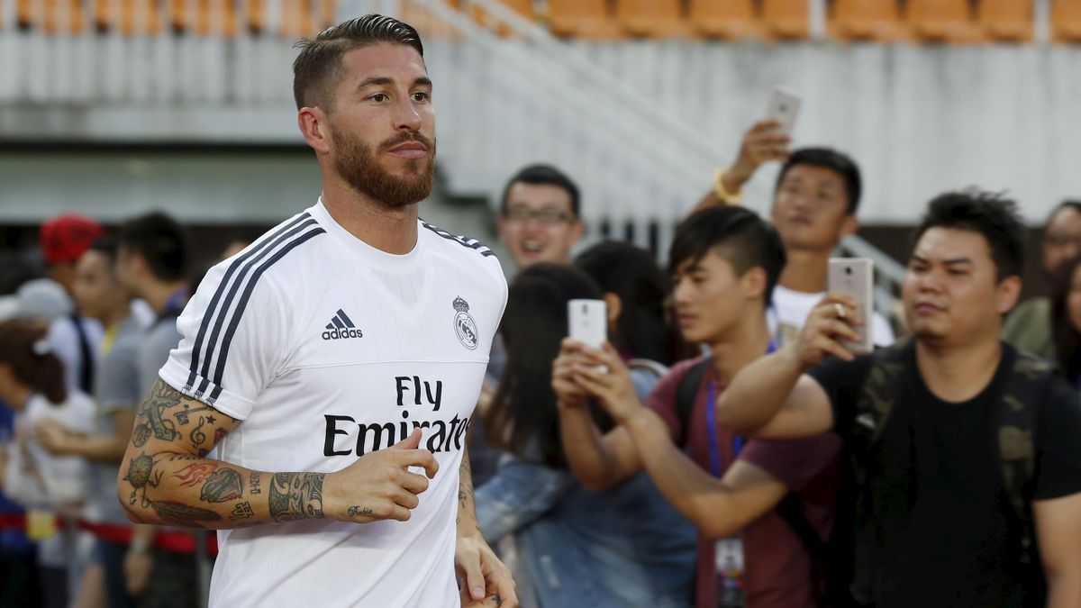 Real Madrid's Sergio Ramos attends a training session at Tianhe Stadium in the southern Chinese city of Guangzhou, China July 26, 2015
