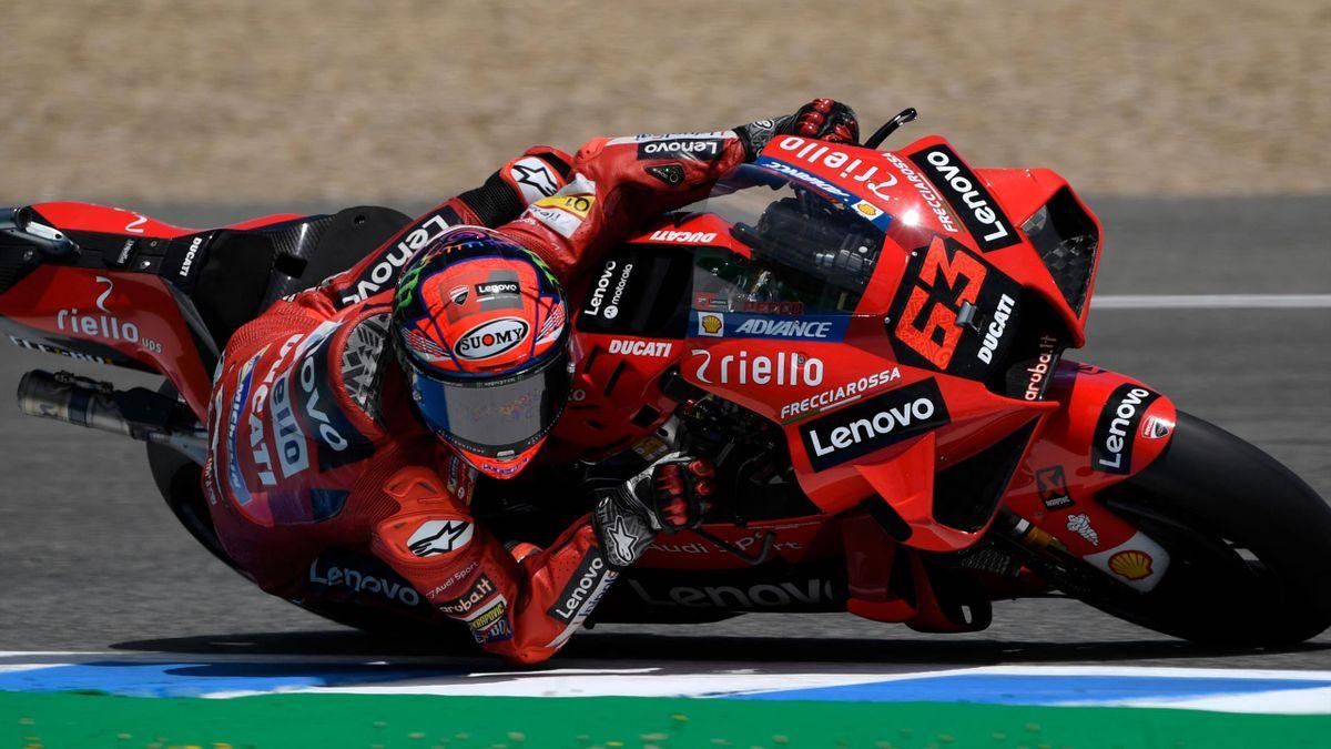 Francesco Bagnaia (Ducati Team) lors des essais libres du Grand Prix d'Espagne, le 30 avril 2021
