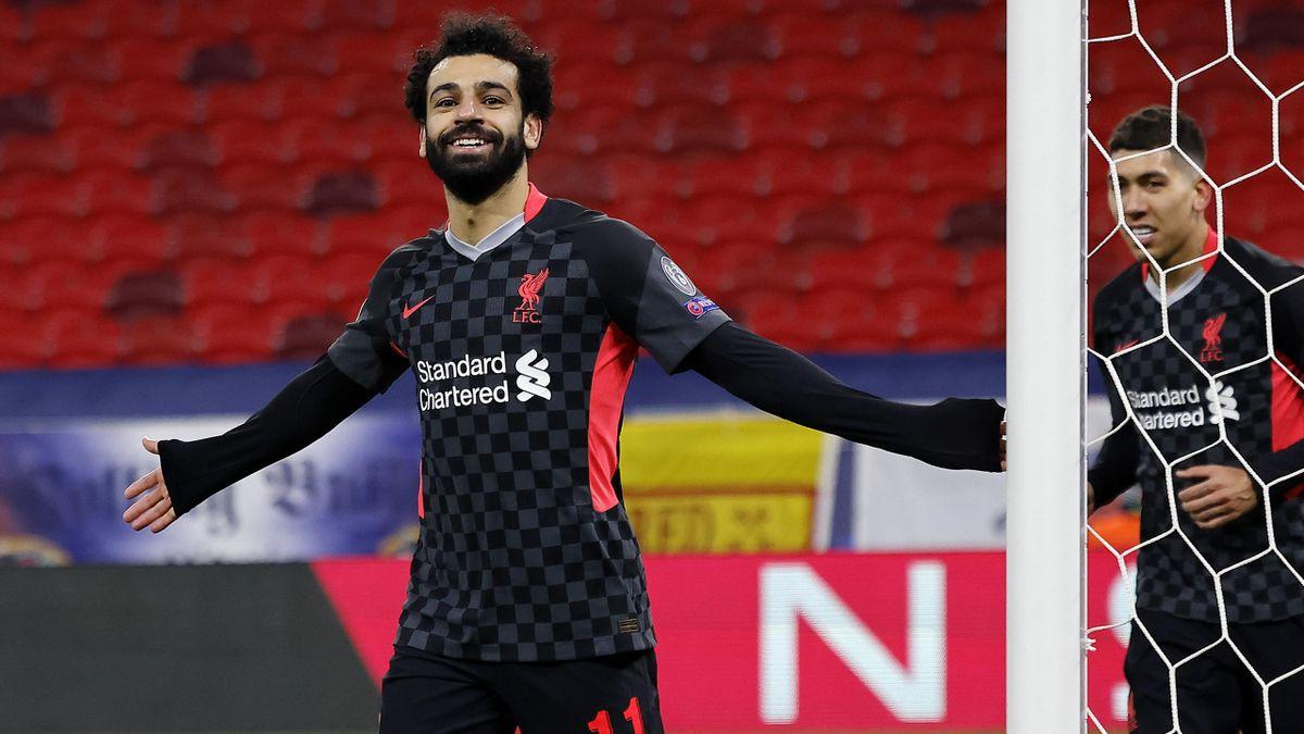Mohamed Salah esulta dopo il gol del vantaggio, Lipsia-Liverpool, Getty Images