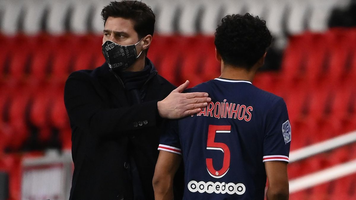 Mauricio Pochettino et Marquinhos lors de PSG-Montpellier.