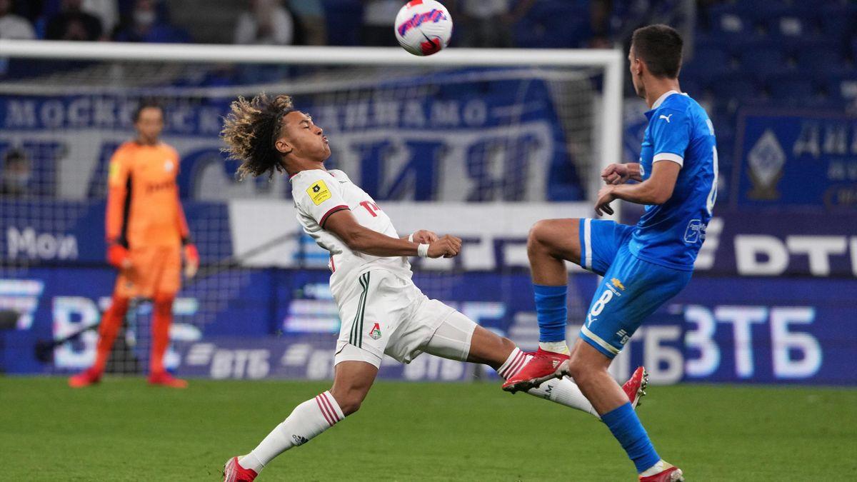 Alexis Beka Beka, lors de son premier match en Russie avec le Lokomotiv contre le Dynamo Moscou.