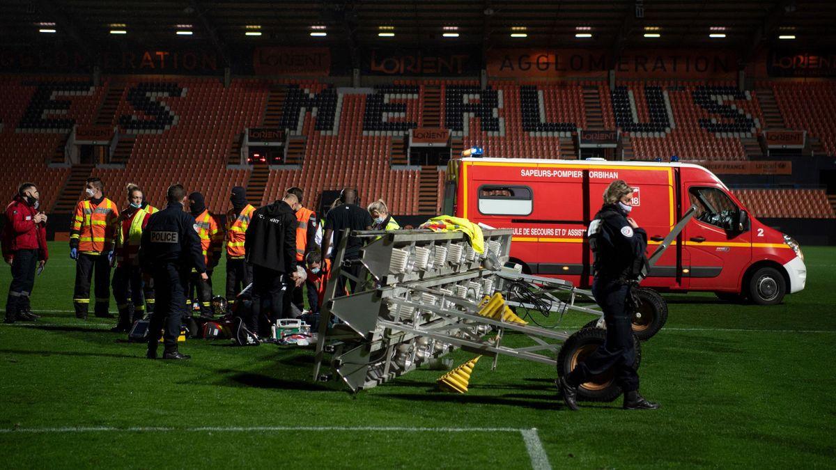 Une rampe d'éclairage s'est effondrée sur un jardinier au Stade du Moustoir de Lorient après la rencontre face à Rennes