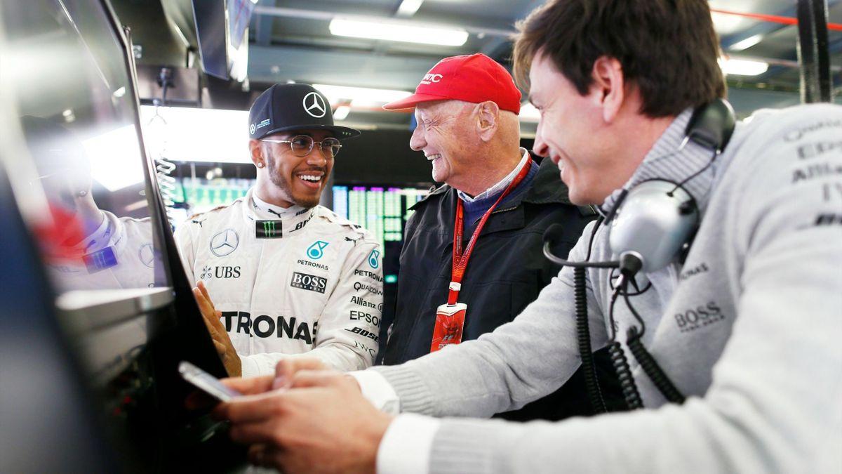 Lewis Hamilton, Niki Lauda et Toto Wolff (Mercedes) au Grand Prix d'Australie 2016