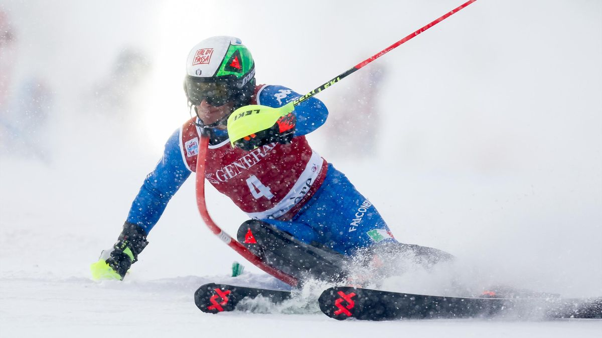 Stefano Gross of Italy in action during the Audi FIS Alpine Ski World Cup Men's Slalom on December 10, 2017 in Val-d'Isere
