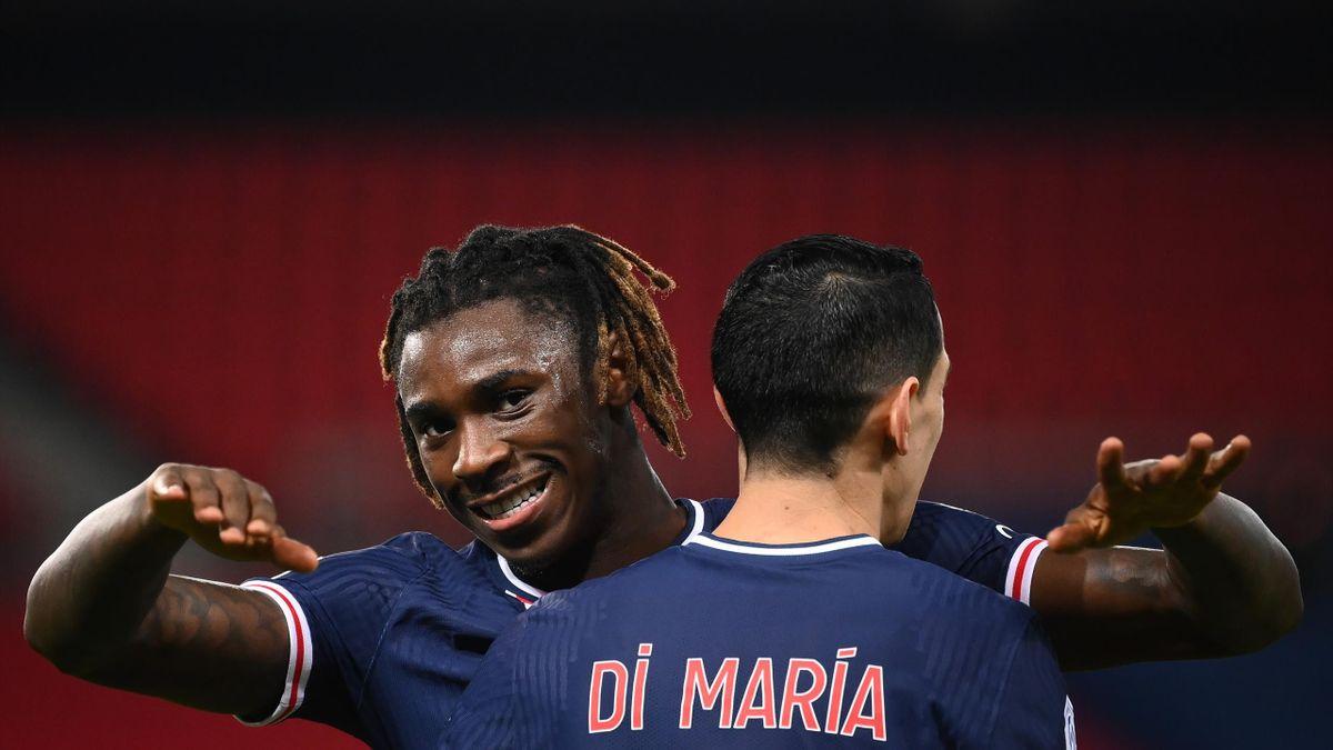 PSG-Rennes, Ligue 1 2020-2021: Moise Kean festeggia con Angel Di Maria dopo il gol del momentaneo 1-0 (Getty Images)