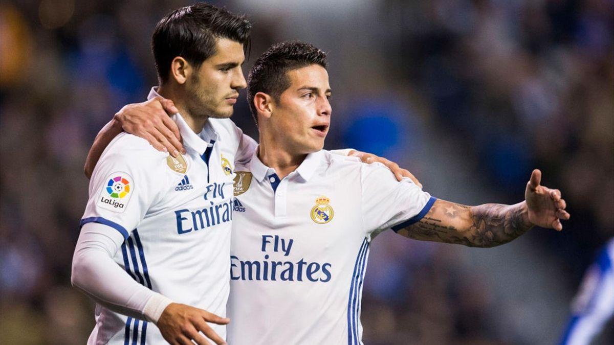 Morata, James Rodríguez - Deportivo la Coruña-Real Madrid - Liga 2016/2017 - Getty Images