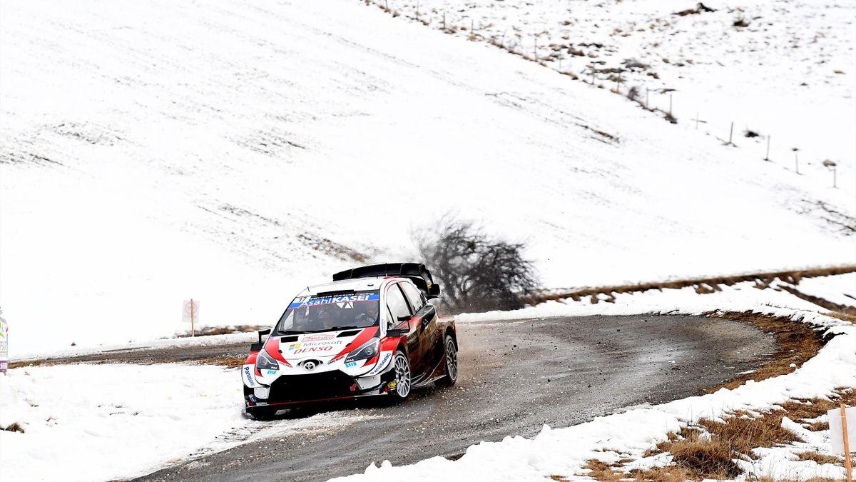 Sébastien Ogier et Julien Ingrassia (Toyota Yaris) lors du Rallye Monte-Carlo, samedi 25 janvier 2020