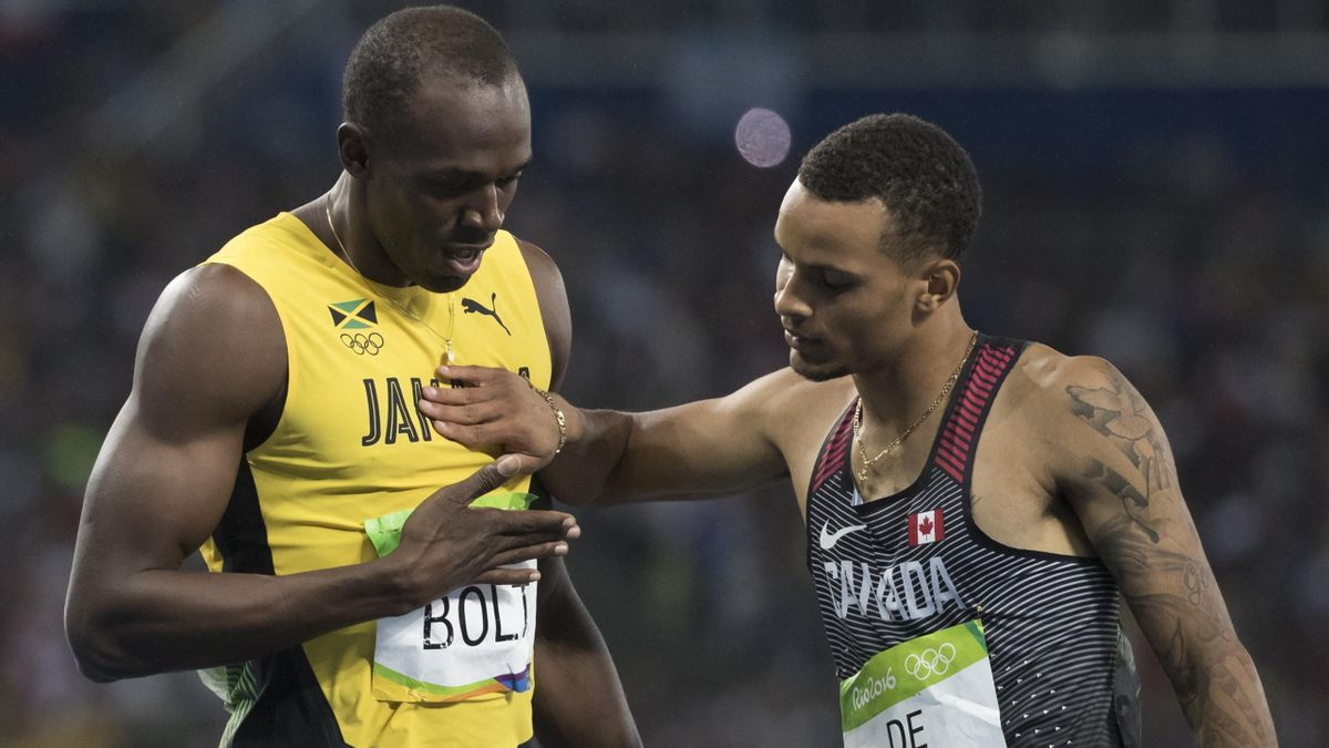 Usain Bolt et Andre De Grasse à Rio.