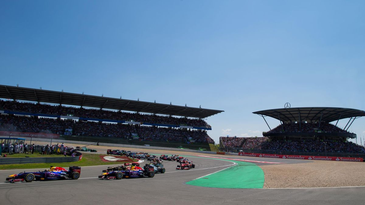 Action during the German Grand Prix at the Nurburgring on July 7, 2013