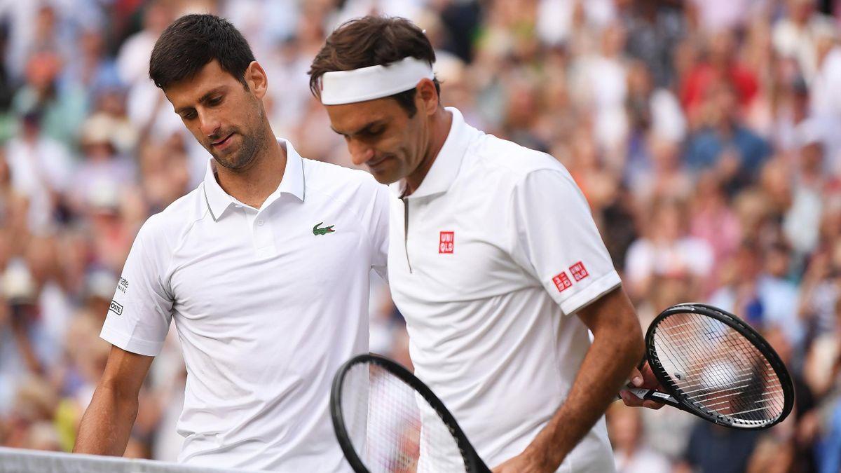 Novak Djokovic et Roger Federer à Wimbledon en 2019