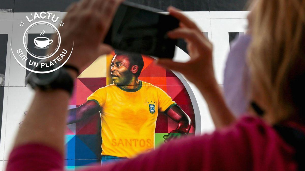 Fresque murale représentant Pelé, à Santos, le 21 octobre 2020