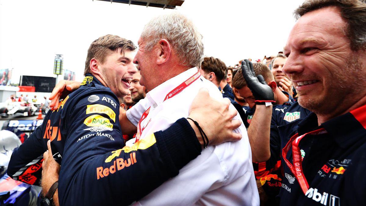 Max Verstappen (Red Bull) avec Helmut Marko après sa victoire dans le GP d'Allemagne 2019.