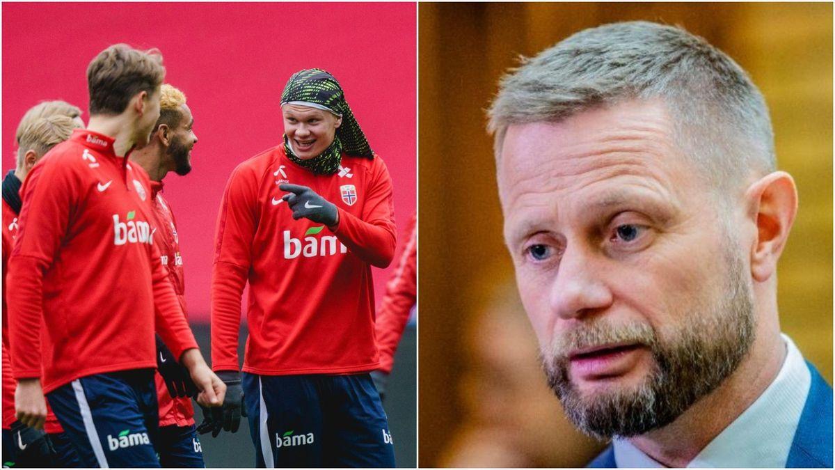 Det norske herrelandslaget i fotball og helseminister Bent Høie.