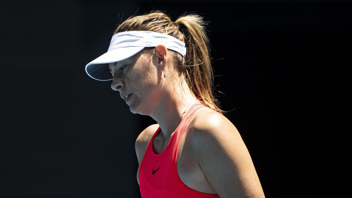Maria Sharapova of Russia looks frustrated in her first round match against Donna Vekic of Croatia on day two of the 2020 Australian Open