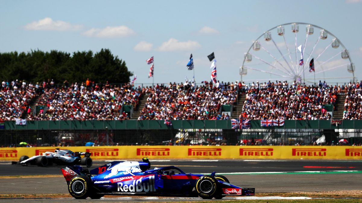 Pierre Gasly of France and Scuderia Toro Rosso driving the (10) Scuderia Toro Rosso STR13 Honda on track during the Formula One Grand Prix of Great Britain at Silverstone on July 8, 2018 in Northampton, England