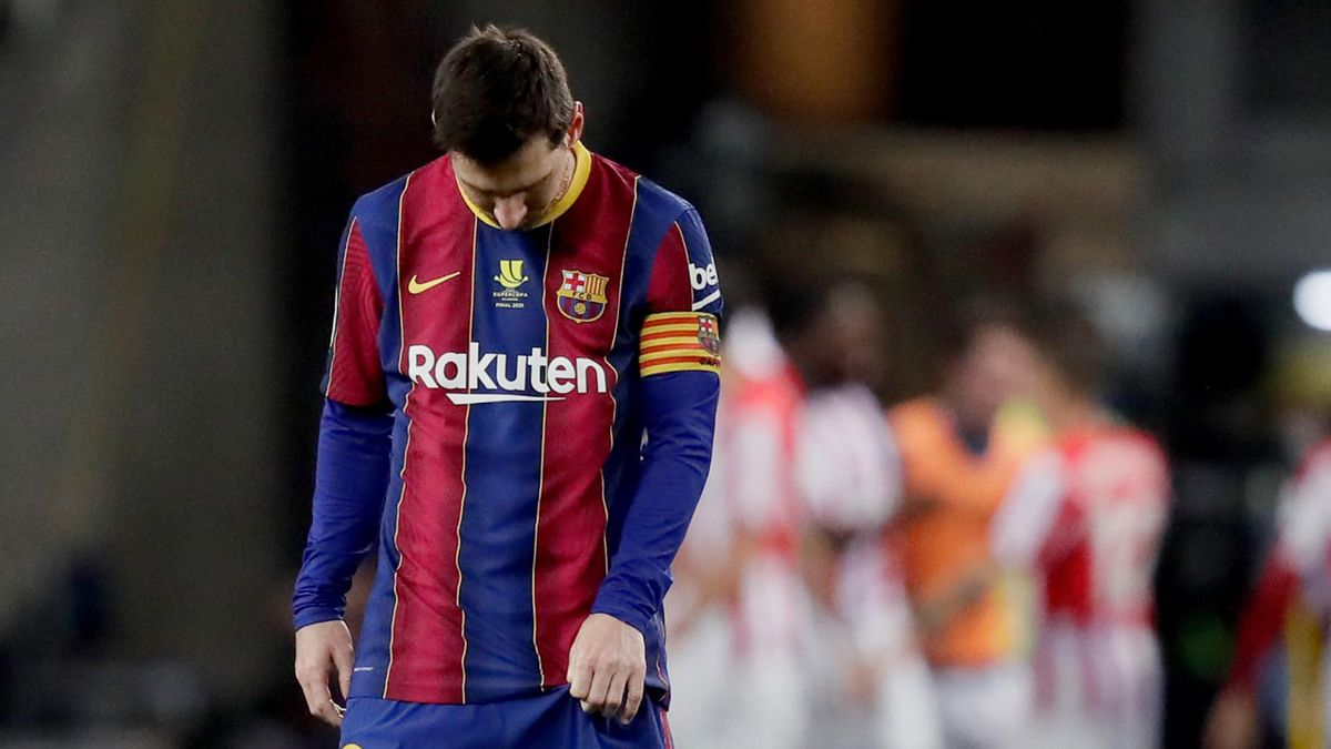 Lionel Messi was sent off for the first time in his Barcelona career against Athletic Bilbao