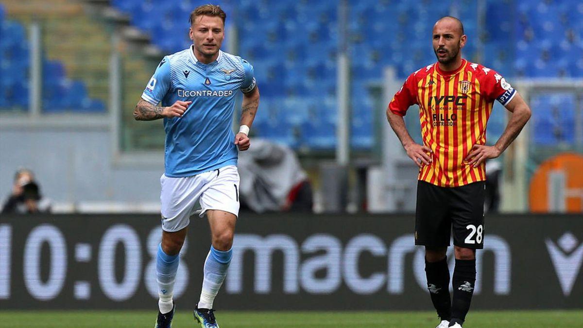 Immobile esulta per un gol in Lazio-Benevento - Serie A 2020/2021 - Getty Images