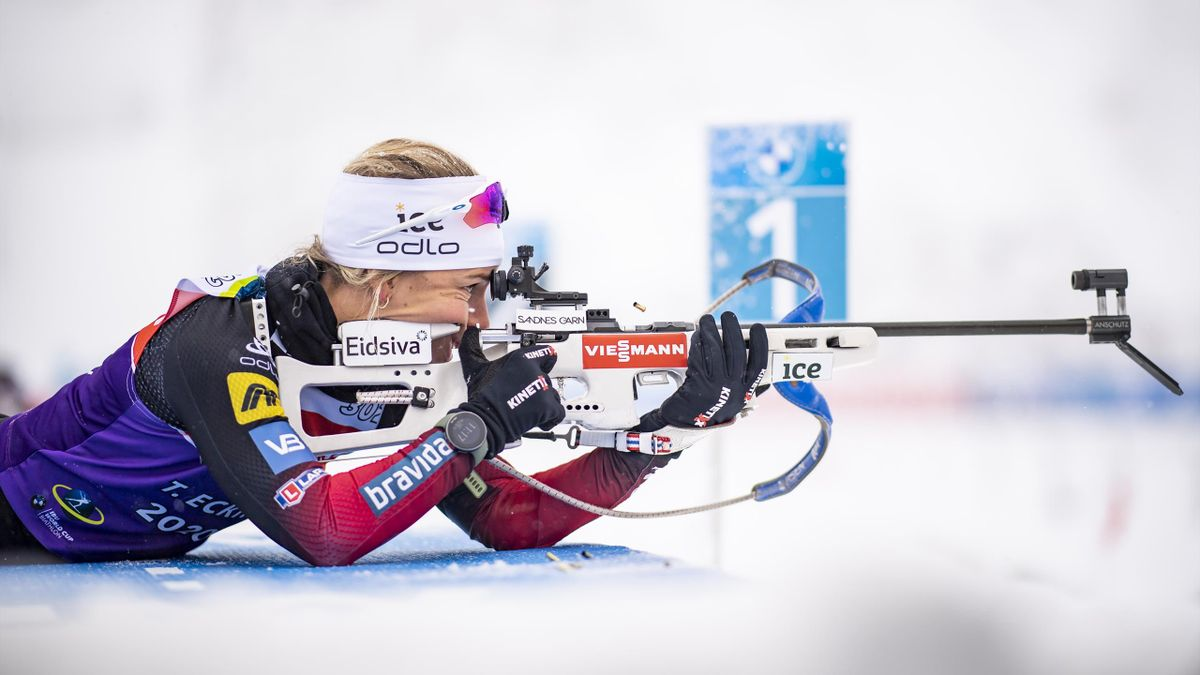 Tiril Eckhoff sur le tir couché du sprint d'Oberhof, le 6 janvier 2021