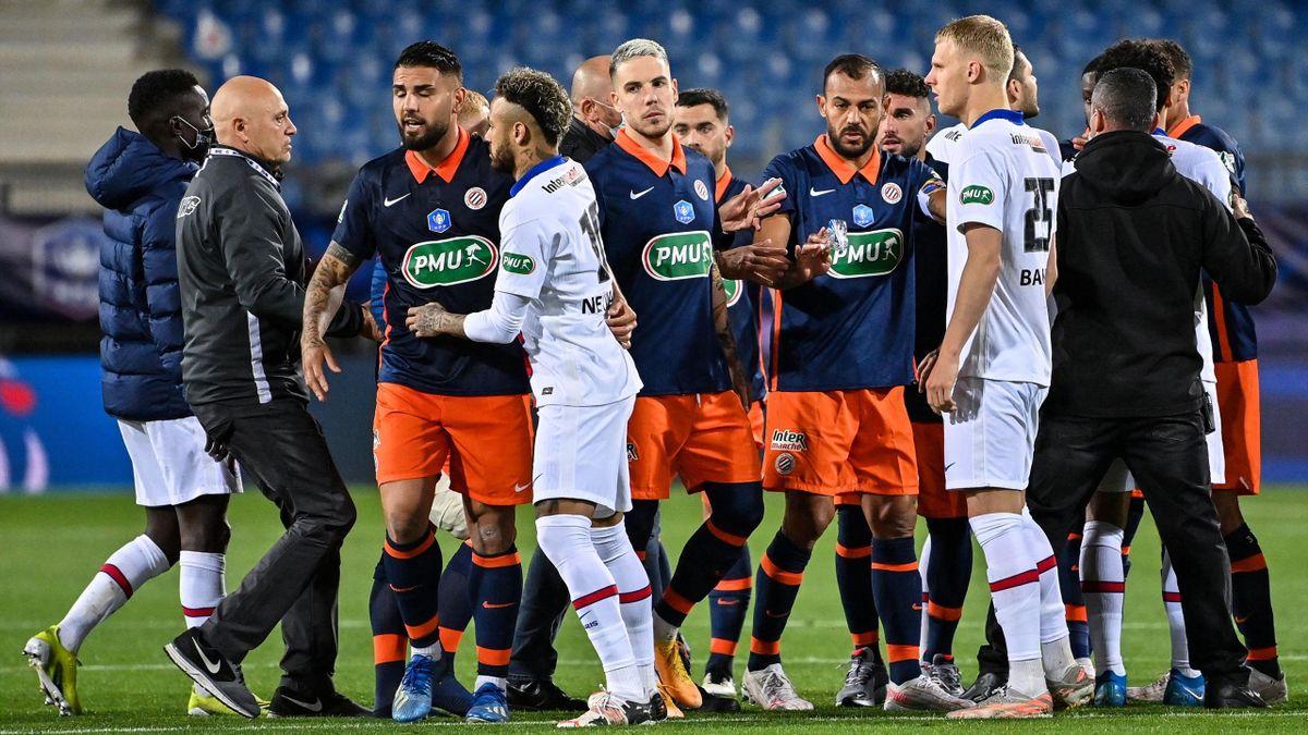 Fin de match un peu tendue entre Montpellier et le Paris Saint-Germain, le 12 mai 2021, en demi-finale de Coupe de France
