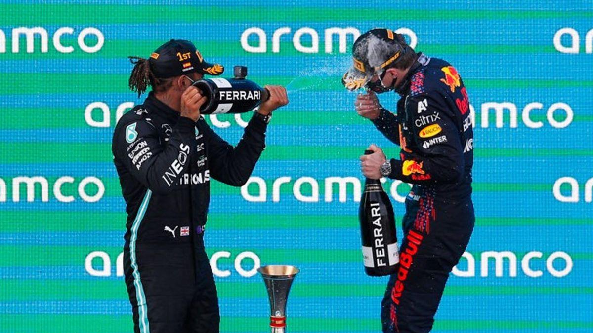 Lewis Hamilton (Mercedes) et Max Verstappen (Red Bull) au Grand Prix d'Espagne 2021