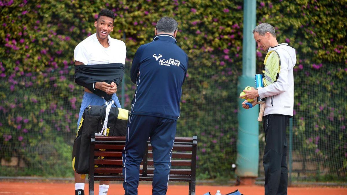 Felix Auger-Aliassime új edzője, Toni Nadal társaságában.