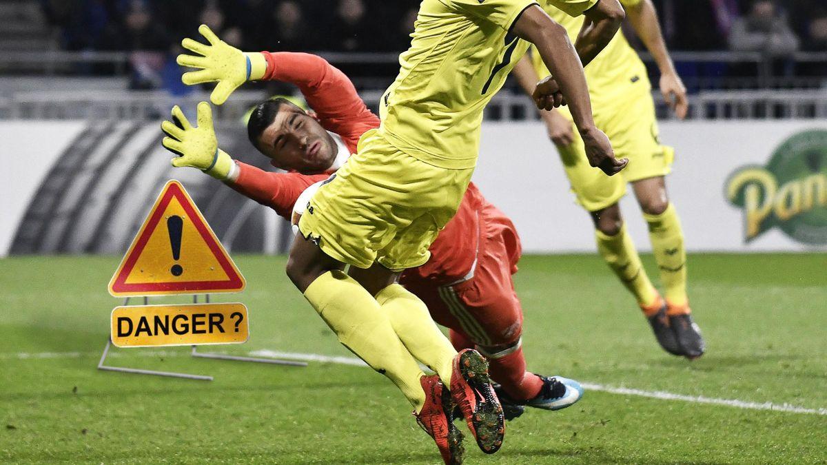 Anthony Lopes lors du match aller de Ligue Europa face à Villarreal