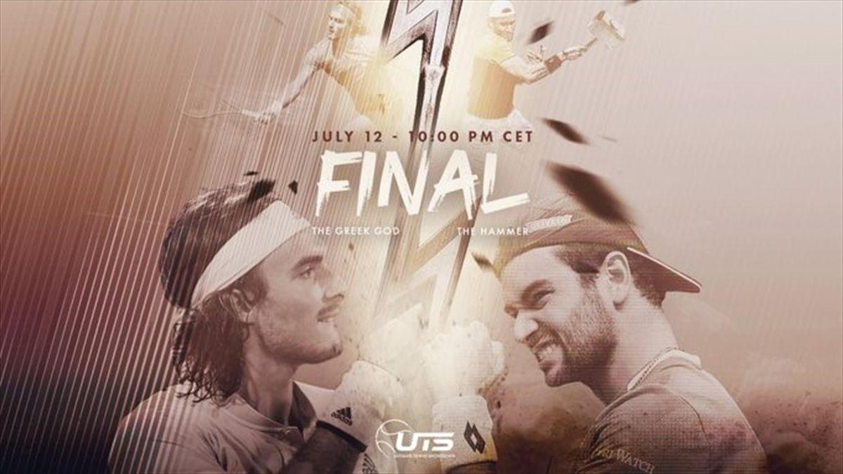 Stefanos Tsitsipas y Matteo Berrettini (Ultimate Tennis Showdown)