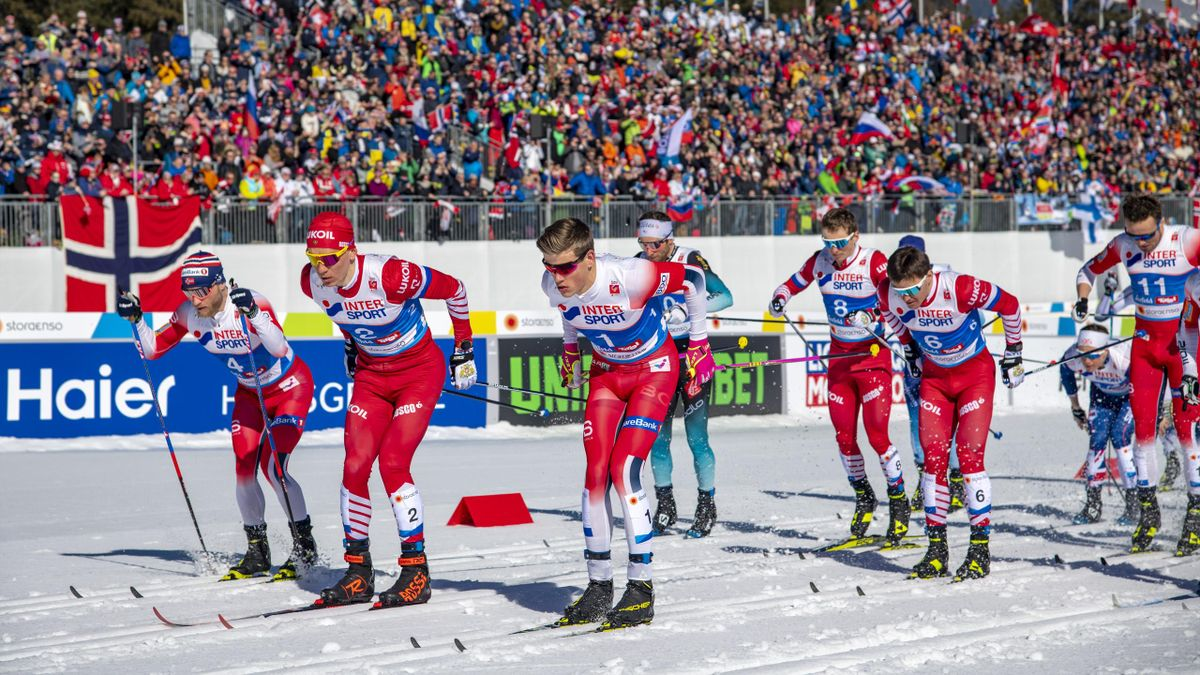 Johannes Hoesflot Klaebo of Norway, Sjur Roethe of Norway, Alexander Bolshunov of Russia, Martin Johnsrud Sundby of Norway, Andrey Melnichenko of Russia, Denis Spitsov of Russia, Emil Iversen of Norway during FIS Nordic World Ski Championship Cross Countr