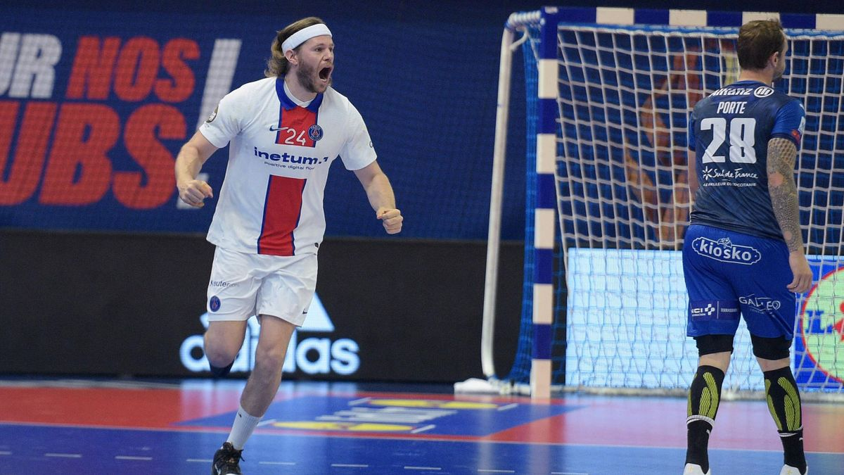 La joie de Mikkel Hansen lors de la finale de Coupe de France opposant le PSG à Montpellier, le 15 mai 2021