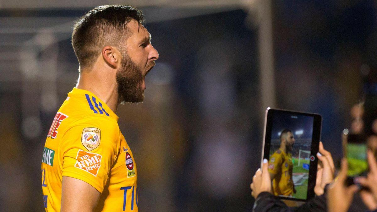 André-Pierre Gignac célèbre son but contre Cruz Azul, le 26 octobre 2019.