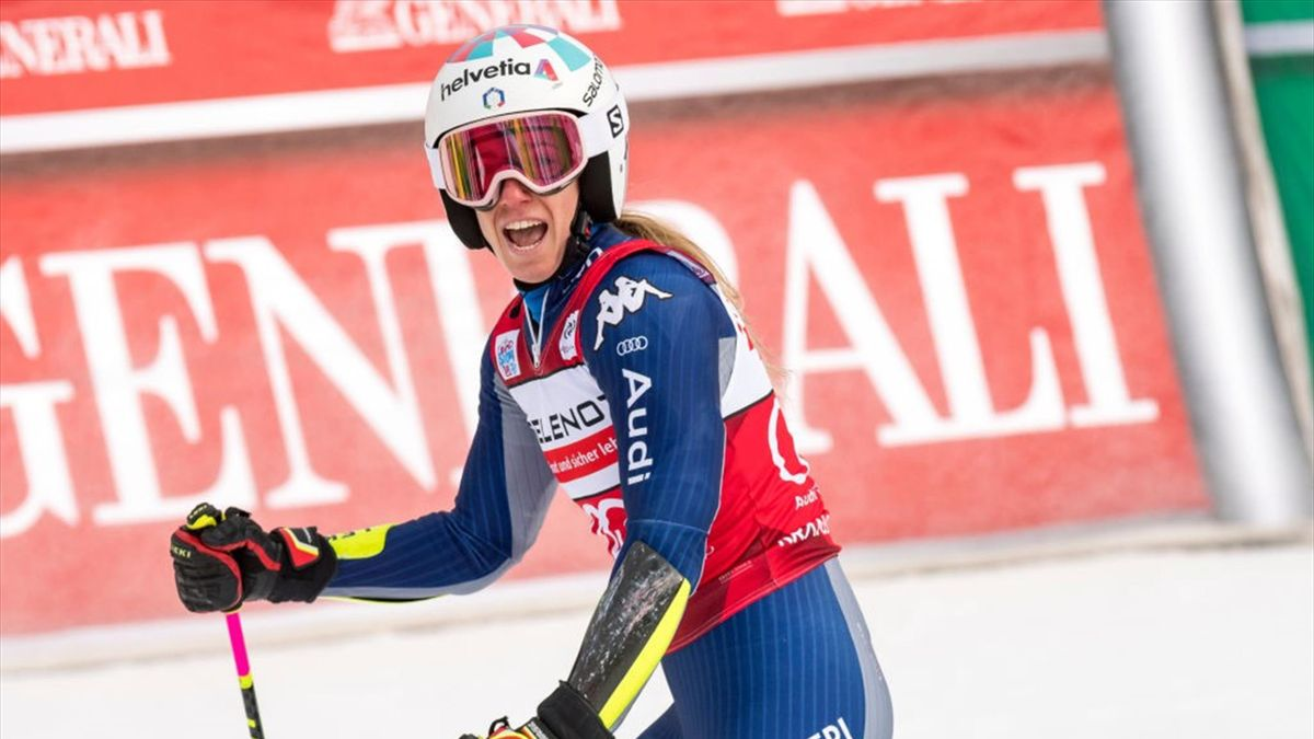 Marta Bassino of Italy reacts during the second run of Giant Slalom in the 57th Golden Fox Maribor - Audi FIS Ski World Cup on January 17, 2021 in Kranjska Gora