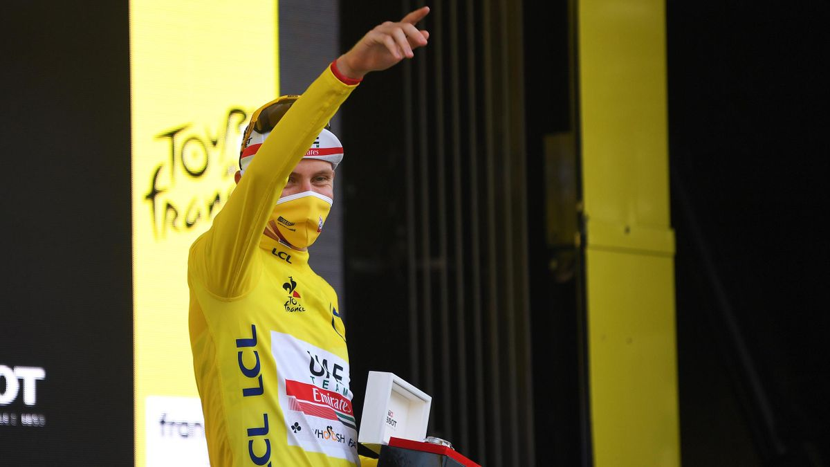 Tadej Pogacar of Slovenia and UAE Team Emirates Yellow Leader Jersey / Celebration / Mascot / Mask / Flowers / during the 107th Tour de France 2020, Stage 20