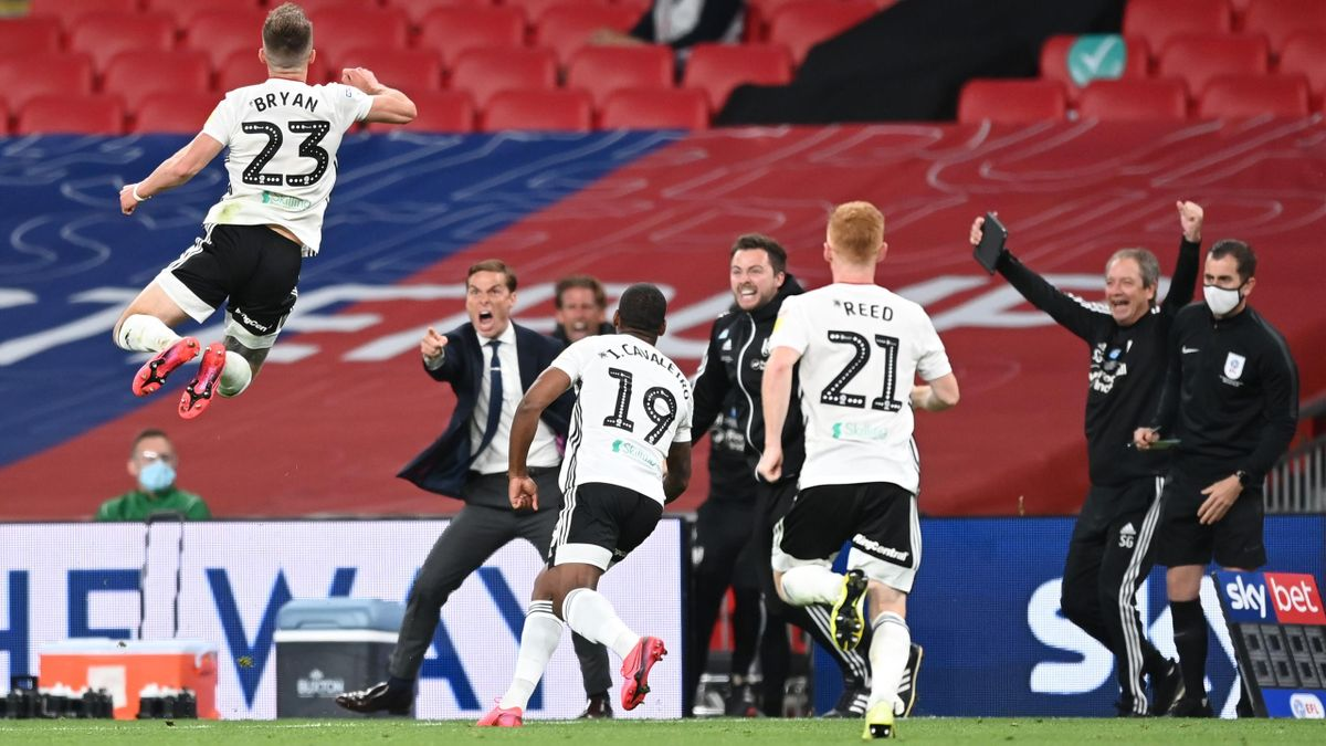 Joe Bryan of Fulham celebrates after scoring his sides first goal during the Sky Bet Championship Play Off Final match between Brentford and Fulham at Wembley Stadium