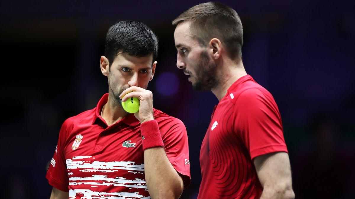 Novak Djokovic et Viktor Troicki lors de la Coupe Davis 2019.