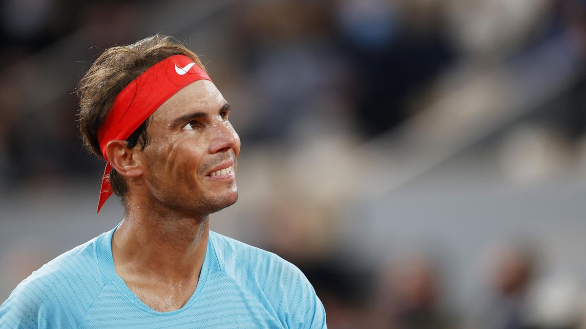 Rafael Nadal of Spain looks on during his Men's Singles Final against Novak Djokovic of Serbia on day fifteen of the 2020 French Open at Roland Garros