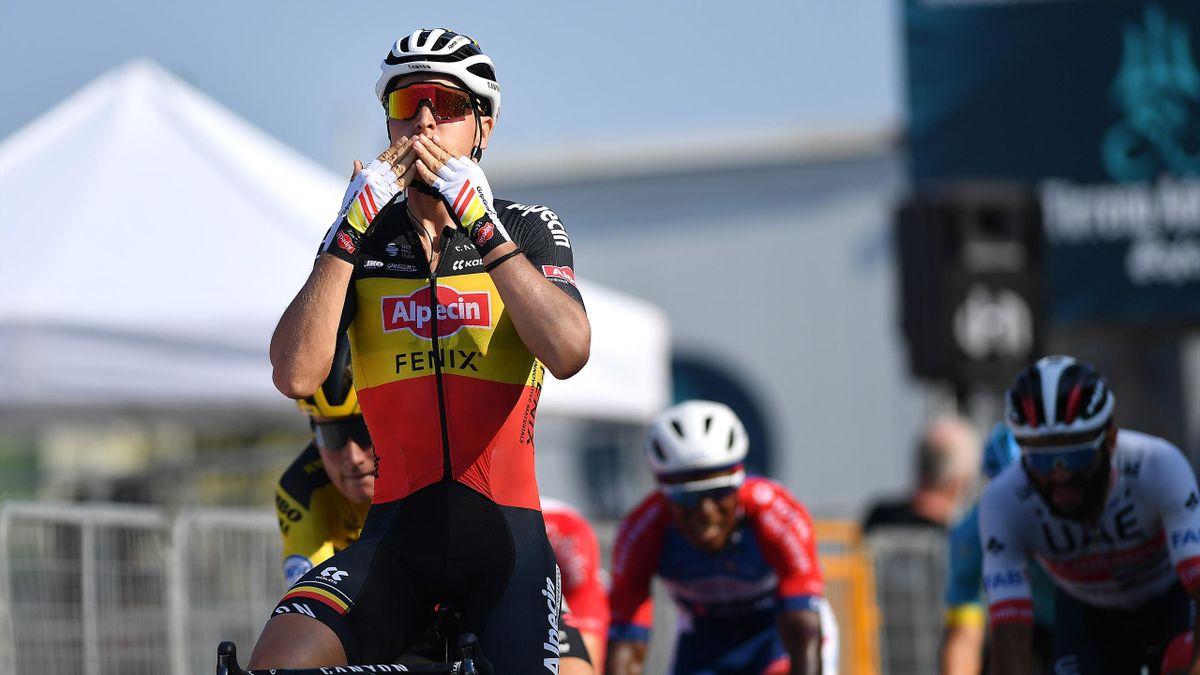 Tim Merlier of Belgium and Team Alpecin-Fenix / Celebration / during the 55th Tirreno-Adriatico 2020, Stage 6 a 171km stage from Castelfidardo to Senigallia / @TirrenAdriatico / on September 12, 2020 in Senigallia, Italy.